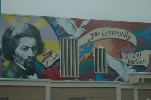 A mural with Frederick Douglass in Anacostia, Washington, D.C.